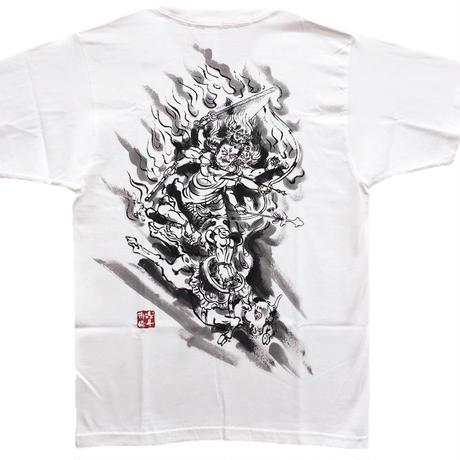 手描きTシャツ 仏画 No.5 大威徳明王 白 綿生地 (半袖 長袖)