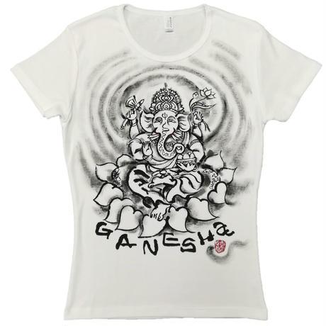 【手描きTシャツ】ガネーシャ 白 レディース