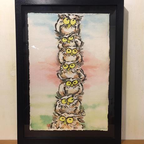 【手描き アート 原画】ふくろうファミリー 45cm × 32.8cm×3.3cm
