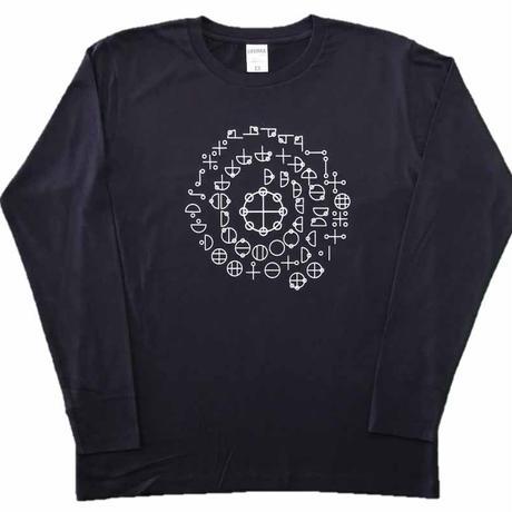 【Tシャツ 半袖 長袖】カタカムナ 綿生地 ホワイト印刷 紺
