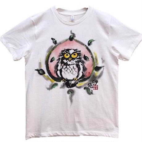 【手描きTシャツ】ふくろう 白 彩色 コットン生地
