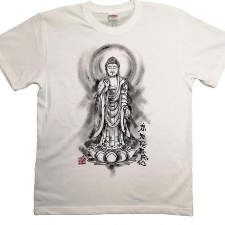 手描きTシャツ 仏画 No.19 阿弥陀如来 立像 (白 綿生地)