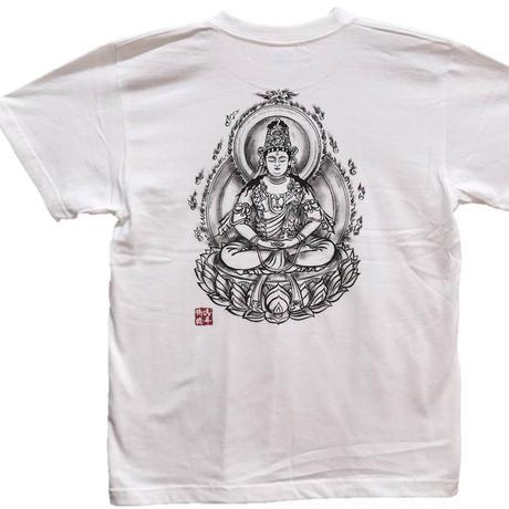 手描きTシャツ 仏画 No.11 大日如来 白 綿生地 (半袖 長袖)