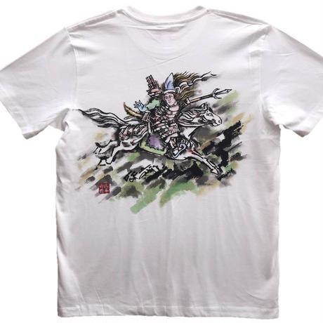 【手描きTシャツ】巴御前 白 彩色 コットン生地
