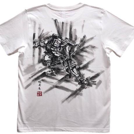 【手描きTシャツ】朝比奈門破り 白 コットン生地