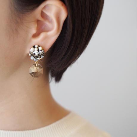 charm swarovski earring/pierce  col.brown