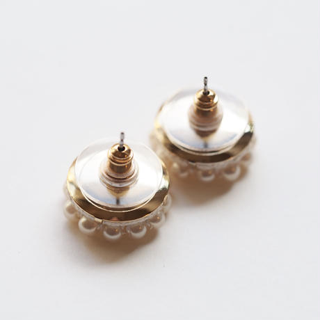 circle pearls  earring/pierce