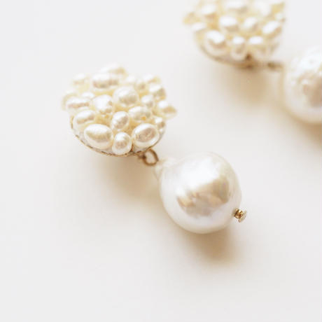 snow pearls earring/pierce