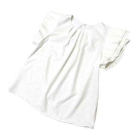 レイヤードプリーツスリーブブラウス (ホワイト)