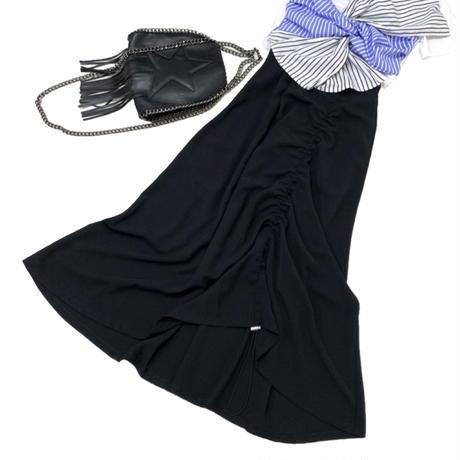 ストリングロングフレアスカート (ブラック)