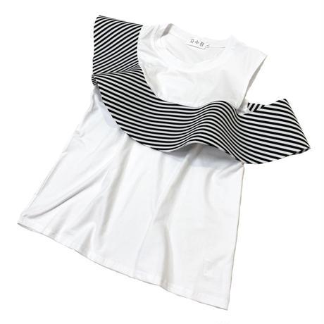 アシンメトリーラッフルノースリーブTシャツ (ホワイト)