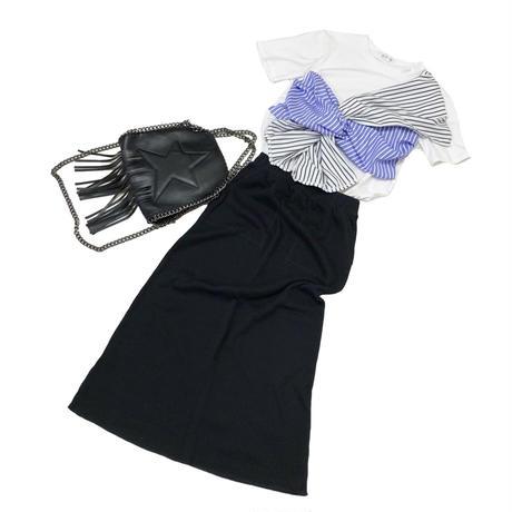 ワッフルポケットロングスカート (ブラック)