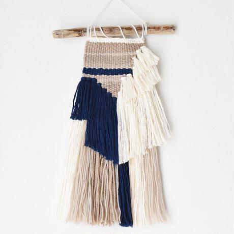weving 絹糸と藍糸のカラーブロック