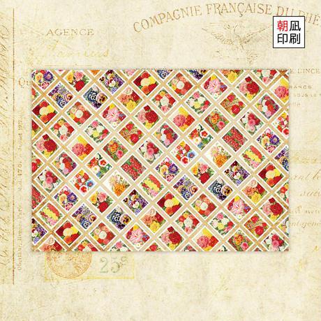 フローラル切手柄デザインペーパー
