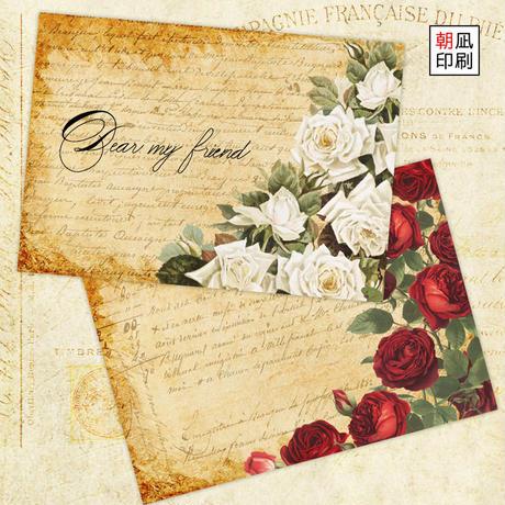 深紅とホワイトの薔薇のメモセット
