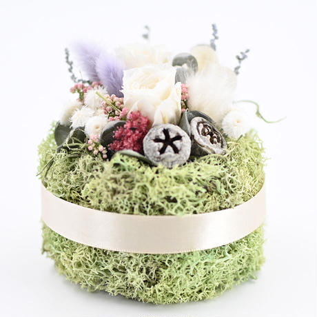 ドライフラワーケーキ   黄緑×白 20210309
