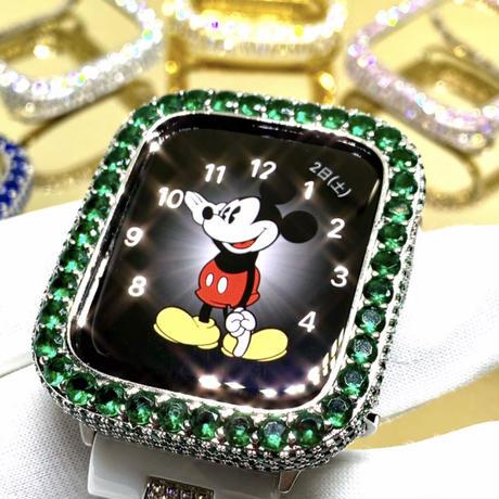 アップルウォッチ  最高級 ラージダイヤカバー エメラルドカラー カバー単品