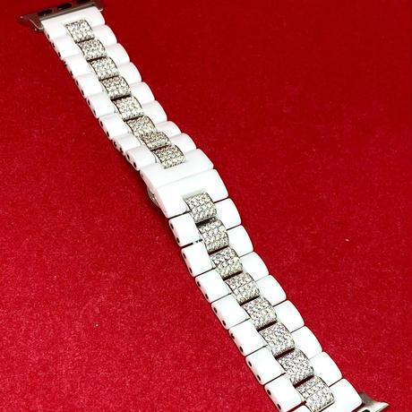 アップルウォッチ 世界限定 セラミックセンターダイヤベルト 42/44mm ホワイト