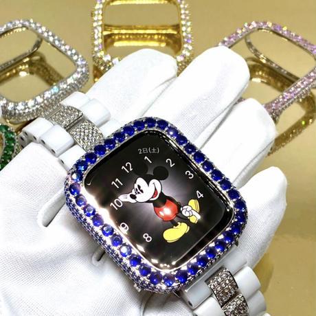アップルウォッチ  最高級 ラージダイヤカバー サファイアカラー カバー単品