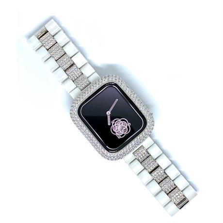 アップルウォッチ 世界限定 セレブダイヤセラミックベルト&ダイヤカバーセット ホワイト