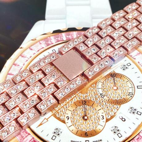 アップルウォッチ 最高ランクダイヤカバー&バンドセット ピンク