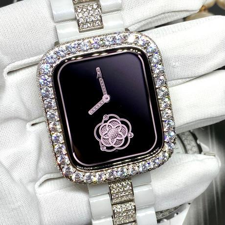 アップルウォッチ 世界限定 セレブダイヤセラミックベルト&ラージダイヤカバーセット ホワイト