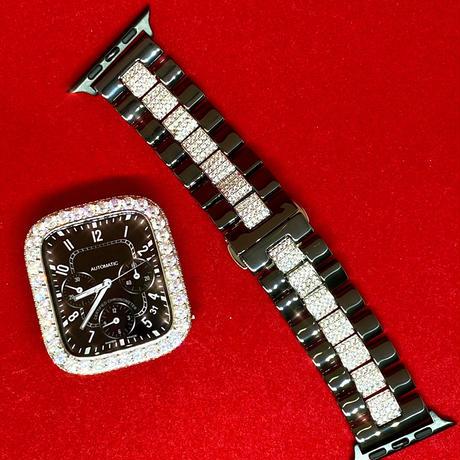 アップルウォッチ 世界限定 セレブダイヤセラミックベルト&ラージダイヤカバーセット ブラック