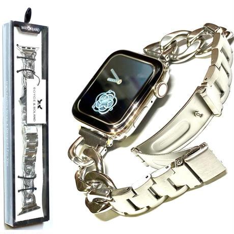アップルウォッチ ステンレス シルバー チェーンベルト プッシュバックル コマ調整器付き