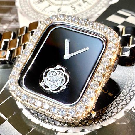 アップルウォッチ  最高級 ラージダイヤカバー&ブラックセラミックベルトセット