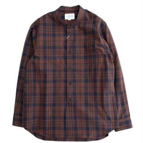 STILL BY HAND(スティルバイハンド)  CHECK バンドカラーシャツ  NAVY×ORANGE