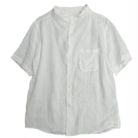 nisica(ニシカ)   ガンジーネックシャツ半袖  WHITE