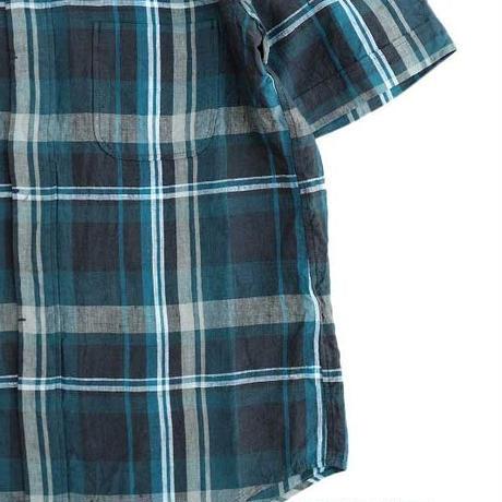 nisica(ニシカ)   ボタンダウンシャツ ハーフスリーブ  NavyCheck