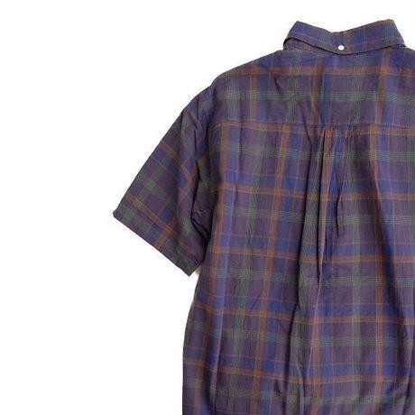 nisica(ニシカ)  ボタンダウンシャツ ハーフスリーブ   NavyCheck(袋仕立て)