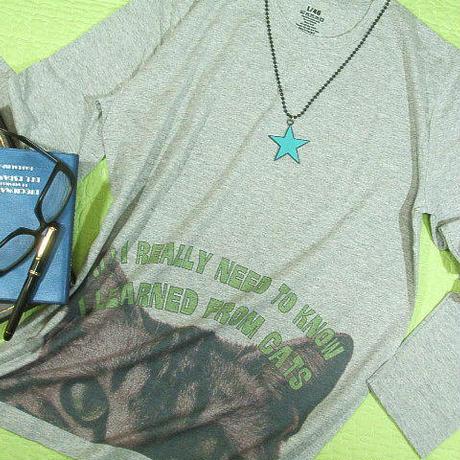 【All I really need to know...】大人のネコ長袖Tシャツ 猫ネコ長袖Tシャツ キャット 【サイズ:M 、L 】【5000円以上で】送料無料 Tシャツ メンズ 長袖 大きいサイ
