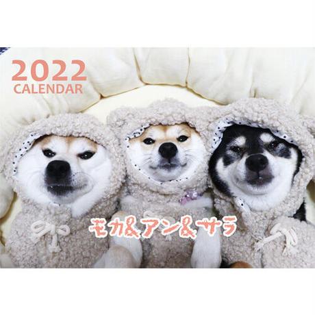 【予約販売】 柴犬 モカ&アン&サラ 2022年 壁掛け カレンダー KK22080