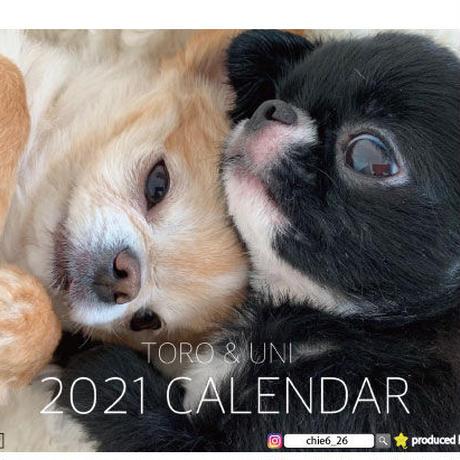 【予約販売】 チワワ TORO&UNI 2021年 卓上カレンダー TC21021