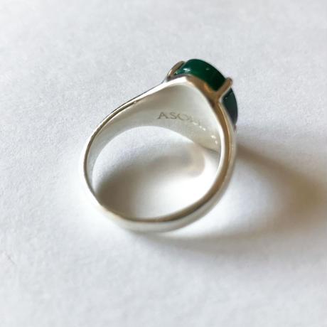 グリーンアゲート + オニキス × シルバー 一点ものリング(サイズ:17号)