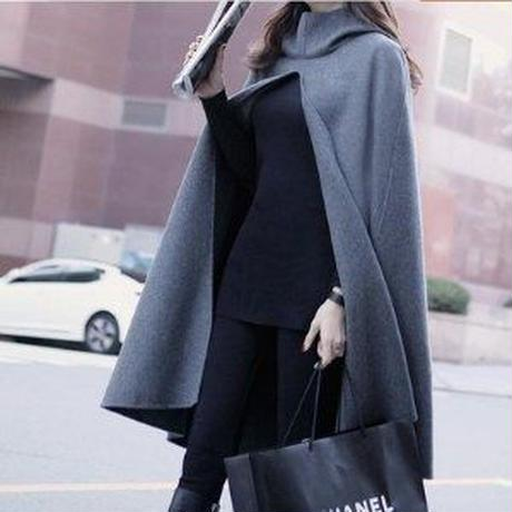 大人ポンチョ フード付きモードな雰囲気 ケープ コート