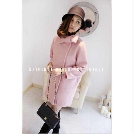 上品 ガーリー マフラー 襟元 リボン ピンク コート