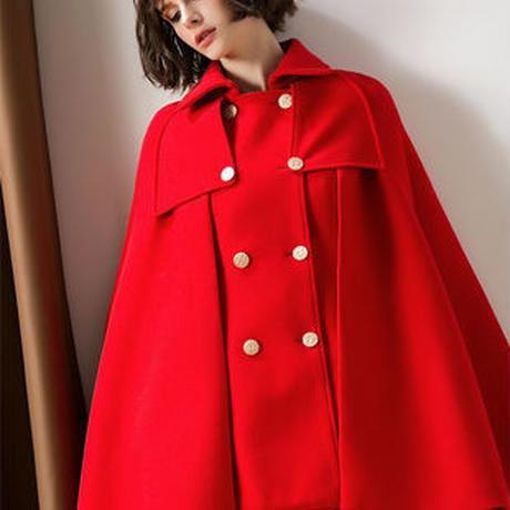 レッド ブラック コート シンプル ロングコート 秋冬 2色