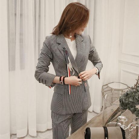 クラシック 通勤 OL オフィス スーツ スリムパンツ セットアップ