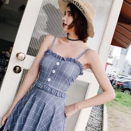チェック柄 スカート フリル 可愛い ビーチ ワンピース水着 2色
