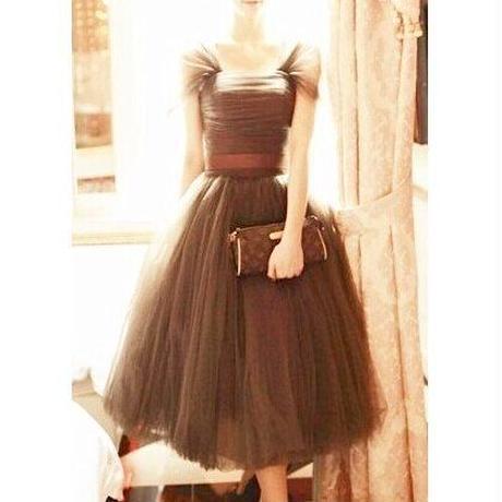 ふんわり リボン パフ袖 膝丈 半袖 チュチュ フレア ドレス