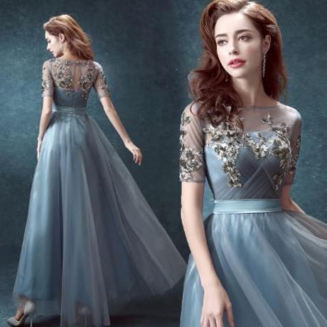 エレガント ブルー チュールレース 半袖 ロング ドレス