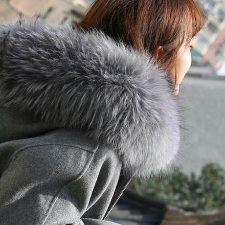 エレガント ウール ファーフード付き ロング コート