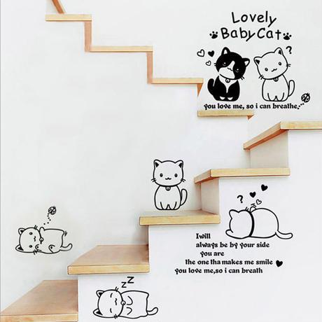 ★楽しい♪★ 6匹のネコたち ウォールステッカー