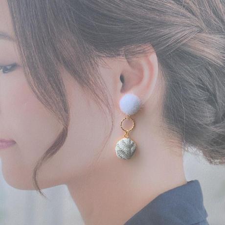 【霜柱 shimo-bashira】こぎん刺し イヤリング/ピアス  緑