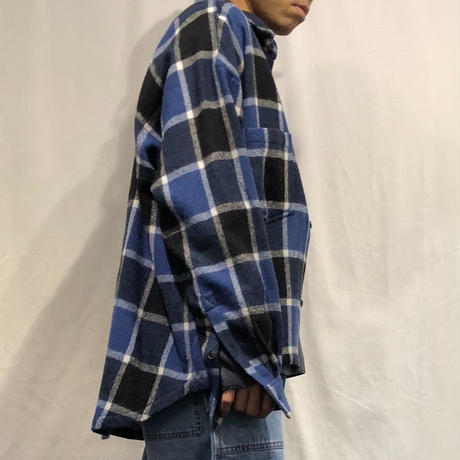 WOOL FLANNEL  BLOCK CHECK  LOOSE  SHIRTS