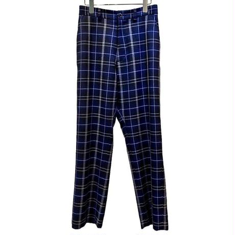PURE WOOL CHECK EASY TROUSERS