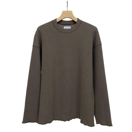 COTTON STRETCH WAFFLE CREW NECK PULLOVER